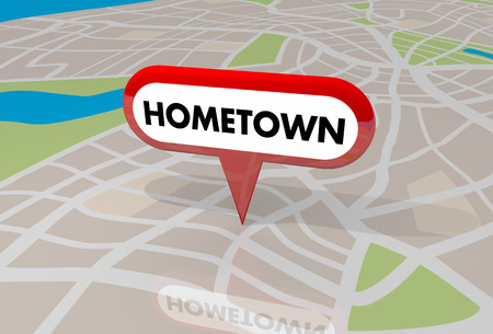 tagging: Hometown Map Pin Word Local Location 3d Illustration Stock Photo