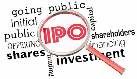 initial public offerings: IPO Initial Public Offering Stock Sale Magnifying Glass 3d Illustration