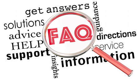 define: FAQ Frequently Asked Questions Magnifying Glass 3d Illustration Stock Photo
