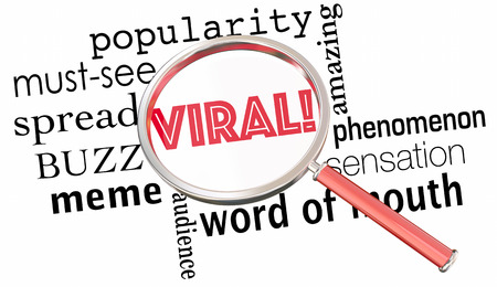 spreading: Viral Popularity Spreading Buzz Words Magnifying Glass 3d Illustration