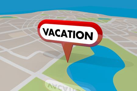 休暇の場所地図ピンの休日スポット旅行旅行先 3 d イラストレーション
