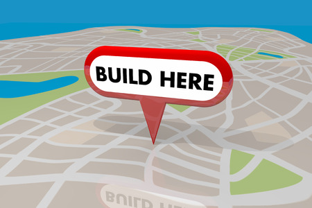 tagging: Build Here New Building Construction Property Location Map Pin 3d Illustration Stock Photo