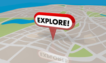 exciting: Explore Discover Adventure Travel Spot Trip Map Pin Word 3d Illustration Stock Photo