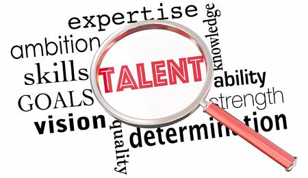 Talento Cerca Lente d'ingrandimento Trova candidati di lavoro Skilled People Illustrazione 3D Archivio Fotografico