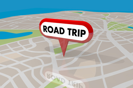tagging: Road Trip Travel Planner Roads Map Pin Spot Route 3d Illustration