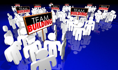 divided: Team Building Groups People Signs Meeting Huddle 3d Illustration