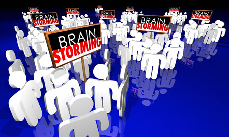 Brainstorming Meeting People Signs Ideas Creativity 3d Illustration Stok Fotoğraf