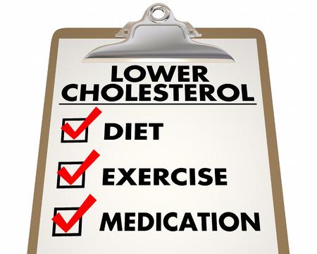 Bajo Lista de verificación de colesterol de la dieta Ejercicio Medicación 3d ilustración Foto de archivo - 71762710
