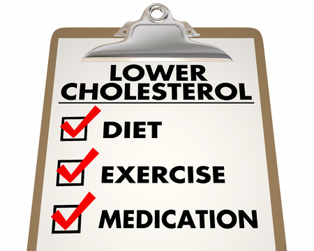 priorities: Lower Cholesterol Checklist Diet Exercise Medication 3d Illustration