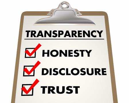 Transparencia Divulgación Honestidad Confianza Lista de comprobación 3d ilustración Foto de archivo - 71762717