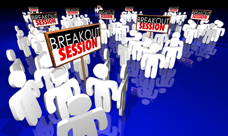 Breakout Session Conference Meeting People Signs 3d Animation Stok Fotoğraf - 71762716