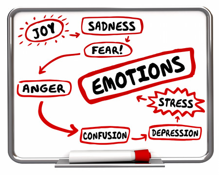feelings and emotions: Emotions Different Feelings Diagram Words 3d Illustration