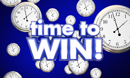 reminding: Time to Win Clocks Victory Team Attitude 3d Illustration