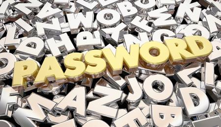 パスワード ワード文字秘密の個人コード 3 d イラストレーション