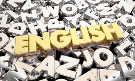 English Language Word Letters Writing Literature 3d Illustration