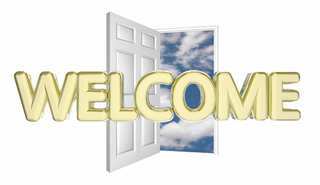 hopeful: Welcome Door Opening Guest Arrival Introduction 3d Illustration