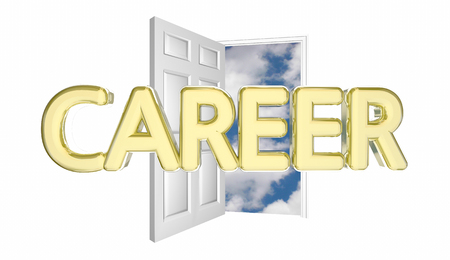 clouds: Career New Job Promotion Success Door Opening 3d Illustration