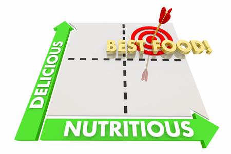 おいしい栄養価の高い最高食品良い味健康マトリックス 3 d イラストレーション 写真素材