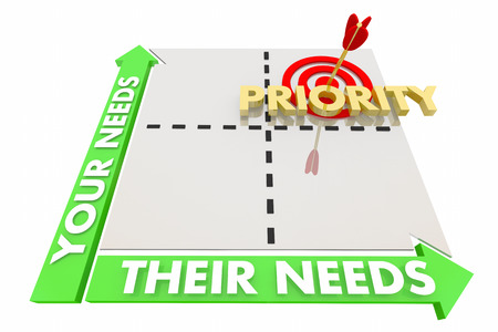 Your Their Needs Matrix Common Different Goals Priorties 3d Illustration Reklamní fotografie