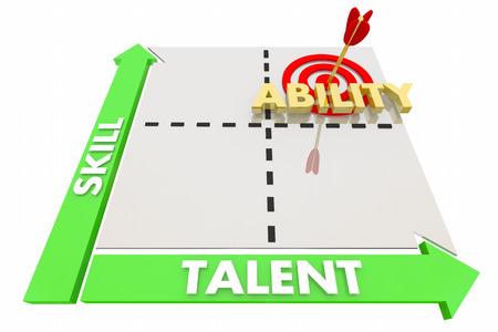 기술 재능 능력 전문성 경험 매트릭스 3D 일러스트레이션 스톡 콘텐츠
