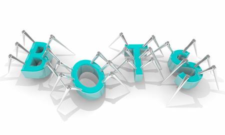 Bots Spinnen Internet Crawlers Wort Buchstaben 3d Illustration Standard-Bild - 72226080