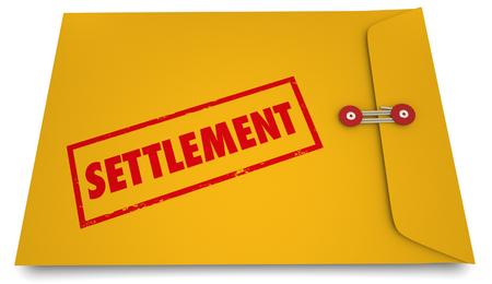 決済法律を取り扱う契約封筒スタンプ 3 d イラストレーション