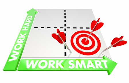smart: Work Smart Vs Hard Matrix Best Method Advice 3d Illustration