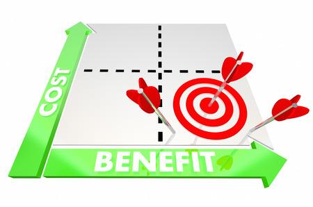 Costo Vs Beneficio Matrix Comparar Ilustración mejor opción mejor 3d Foto de archivo