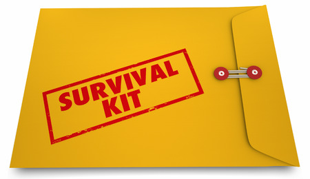Survival Kit Doomsday Informatie Envelop 3D Illustratie Stockfoto