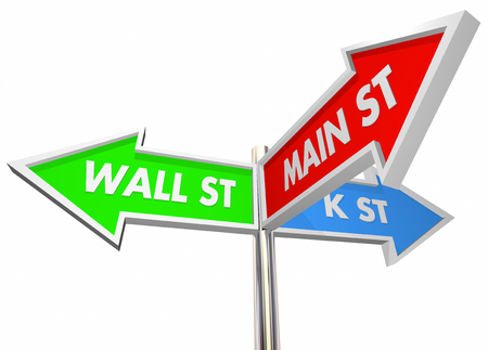 lobbyists: Wall St K Main Street 3 Way Signs Intersection 3d Illustration