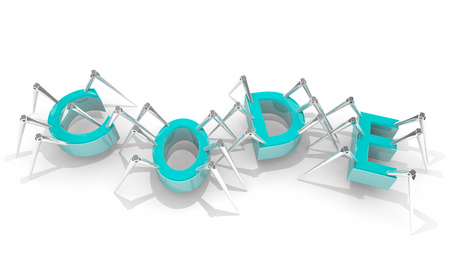Code Programming Language Word Letters Spiders 3d Illustration