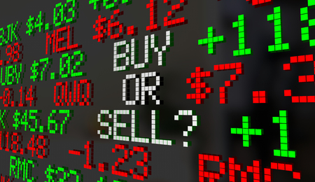 Buy or Sell Stock Market Shares Ticker Prices 3d Illustration