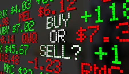 Koop of verkoop aandelenmarkten Ticker prijzen 3d illustratie