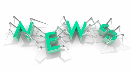 web crawler: News Report Tech Announcement Update Spiders 3d Illustration Stock Photo