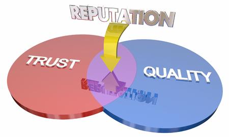 Trust Quality Reputation Venn Diagram Best Company 3d Illustration