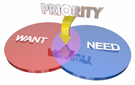 shared sharing: Want Need Priority Most Important Choice Venn Diagram 3d Illustration