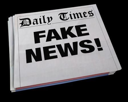 headline: Fake News Lies Newspaper Headline Dishonest Media 3d Illustration