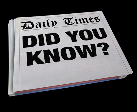 newspaper headline: Did You Know Spinning Newspaper Headline News Update 3d Illustration