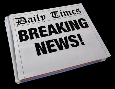 headline: Breaking News Spinning Newspaper Headline 3d Illustration