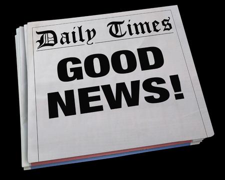 Goede Nieuws Mededeling Spinning Newspaper Headline 3D Illustratie