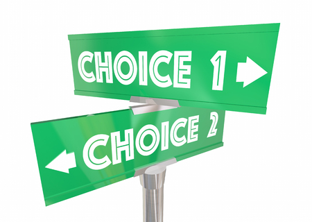 preference: Choice 1 2 Different Options Pick Best Way Signs 3d Illustration