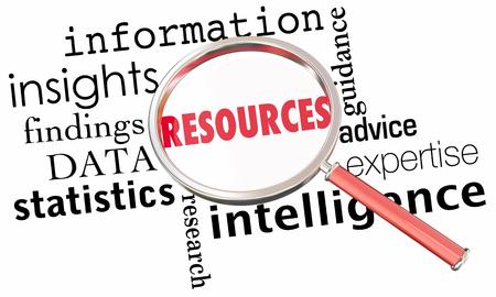 リソース情報データの洞察力事実ガラス単語を拡大 3 d イラストのコラージュ