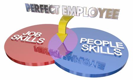 competencias laborales: Job Plus People Skills Perfect Employee Worker Venn Diagram 3d Illustration