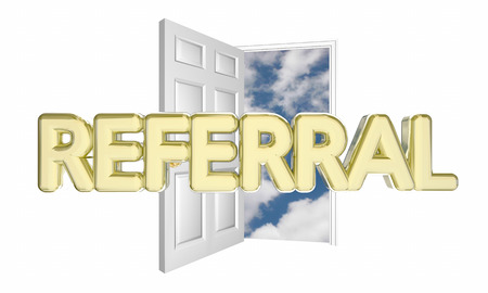 word of mouth: Referral Sale New Customer Open Door Word 3d Illustration