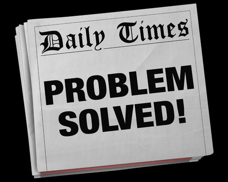notifying: Problem Solved Solution Fixed Newspaper Headline 3d Illustration