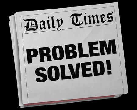 Problem Solved Solution Fixed Newspaper Headline 3d Illustration
