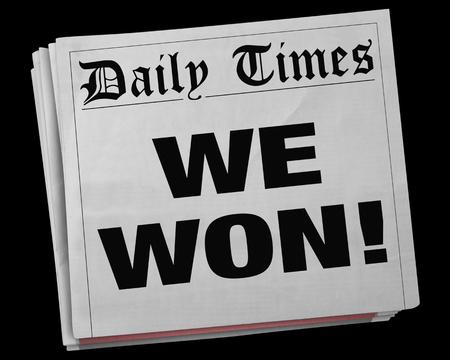 우리는 큰 승리자 게임 승리 챔피언 신문 헤드 라인 3D 일러스트 레이 션을 이겼다. 스톡 콘텐츠