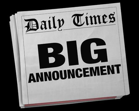 notifying: Big Announcement News Story Headline Newspaper 3d Illustration Stock Photo