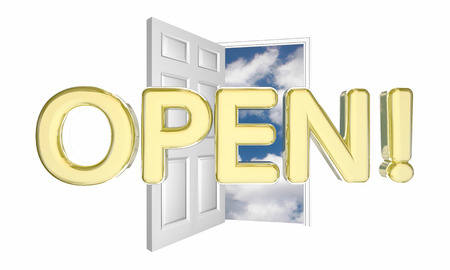 potential: Open Door Word New Business Grand Opening 3d Illustration Stock Photo