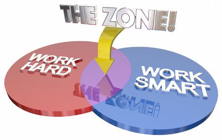 better: Work Hard Vs Smart The Zone Venn Diagram 3d Illustration